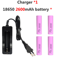 4pcs 2600MAH 3.7V 18650 Li ion Battery Rechargeable Lithium 26F for Samsung 18650 +1* 803C Charger for Flashlight Power Bank