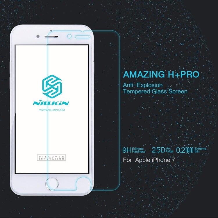 10 unids/lote al por mayor NILLKIN increíble H + PRO del teléfono del vidrio templado Film Protector de pantalla para Apple iphone 7/iphone 7 plus de vidrio flim