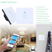 EU Type Sonoff Wifi Touch Glass Panel Switch Smart Home Remote Control Wifi Switch 1 Gang