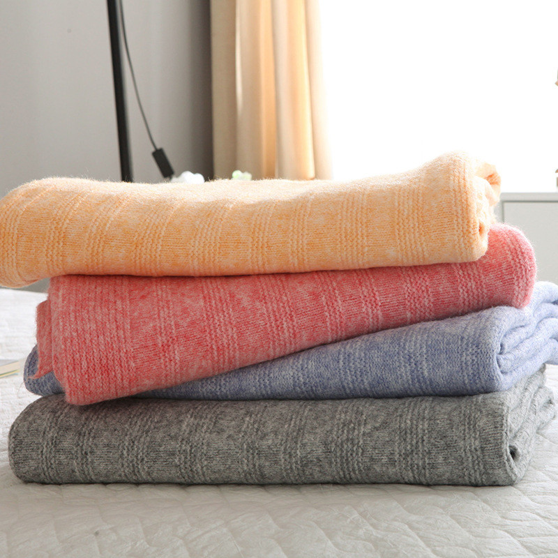 ФОТО Les Baoyi 1-Piece Cotton Blanket Solid Color 100% Cashmere Throw Blanket On the Bed Queen Size Machine Washable 130*170cm