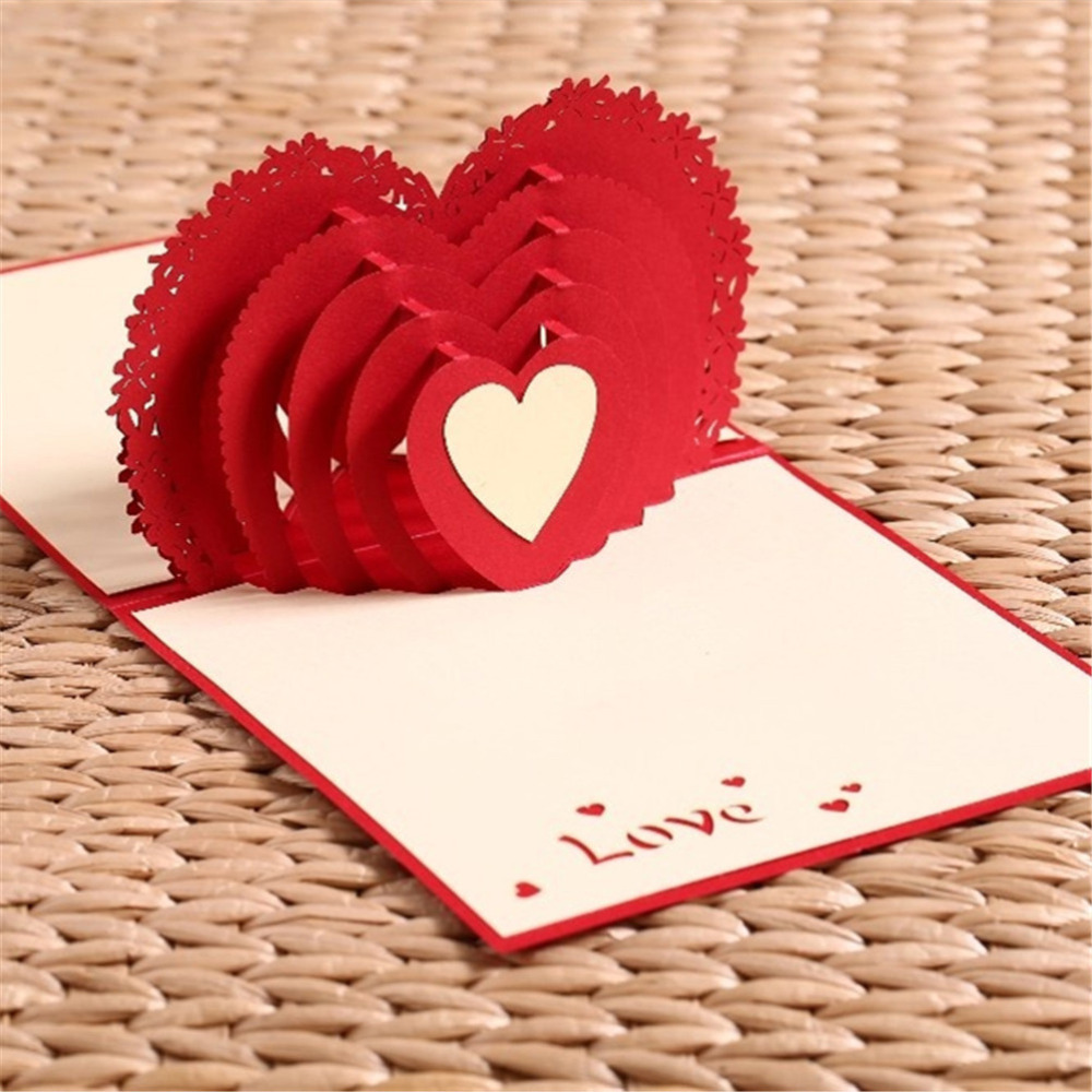 1 PCS 3D Heart Pop UP Wedding Invitations Card Valentine\'s ...