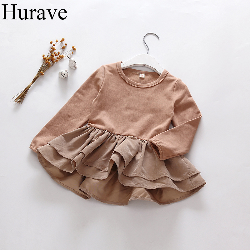 Hurave baby girl clothes Autumn childrens clothing long-sleeved cotton Lotus Leaf hem lace tiered style girl dress