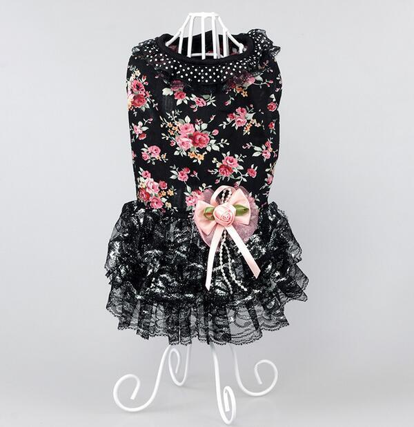 2016 new summer style dogs cats fashion floral lace tutu princess dress doggy lovely party dresses pet dog cat dress 1pcs