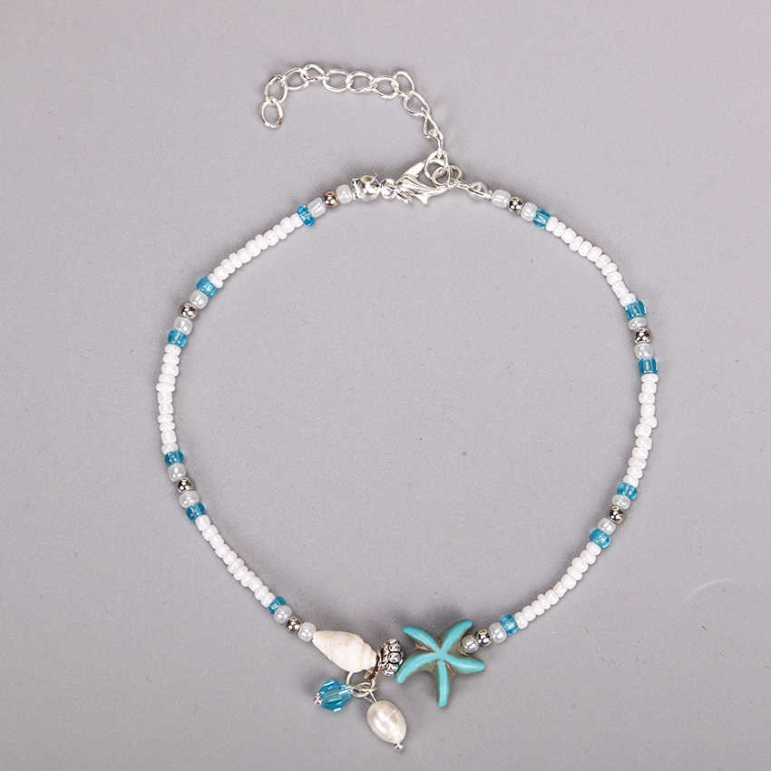 1PC Fashion Bohemian Imitation Pearls Starfish Charms Bracelets Anklets for Women Beach Jewelry Shell Jewelry Party Gift