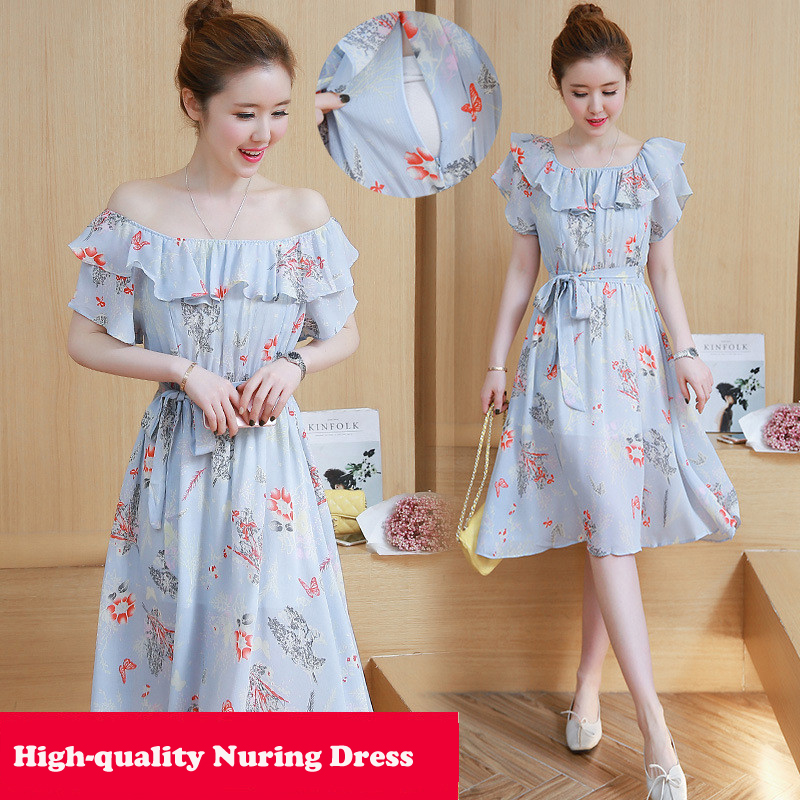 New 2018 Floral Printed Maternity Nursing Dress Shoulderless Summer Breastfeeding Clothes for Pregnant Women Pregnancy Dress