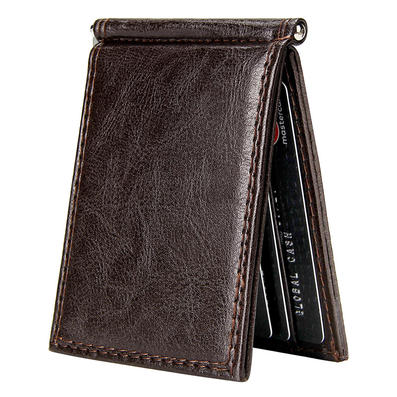 Vintage Slim Money Clip Bifold Short Wallets For Men Multi Card Slots Pu Leather Luxury Business Cards Wallet Male Metal Clips
