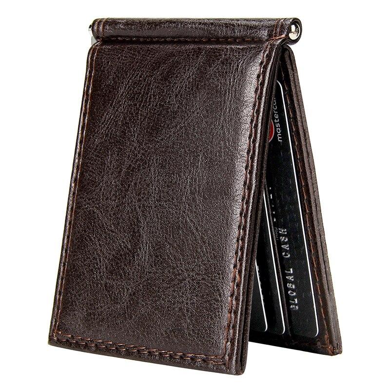 Vintage Slim Money Clip Bifold Short Wallets For Men Multi Card Slots Pu Leather Luxury Business Cards Wallet Male Metal Clips
