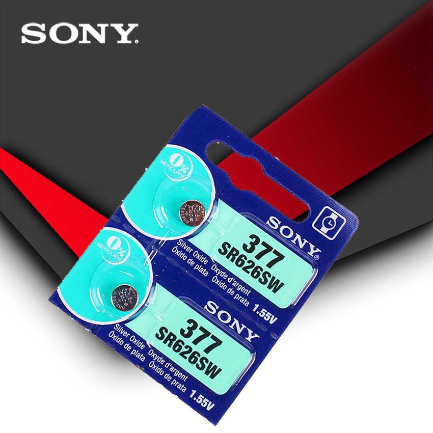 2 piezas Sony 100% Original 377 SR626SW SR626 AG4 1,55 V batería de reloj de óxido de plata SR626SW 377 botón pila de monedas hecho en Japón
