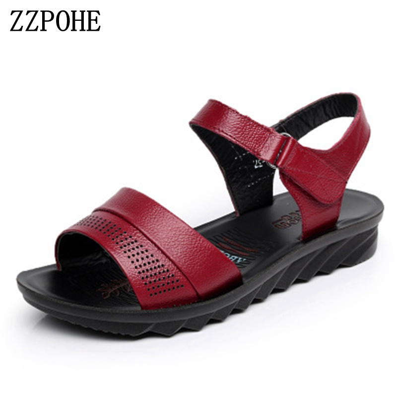ZZPOHE Summer Beach Shoes Ladies Fashion Leather Flat Sandals Women Casual Comfortable Black Sandals elderly Soft bottom sandals ylqp women s genuine leather sandals shoes summer soft bottom comfortable flat bottomed mother sandals hollowed out ladies shoes