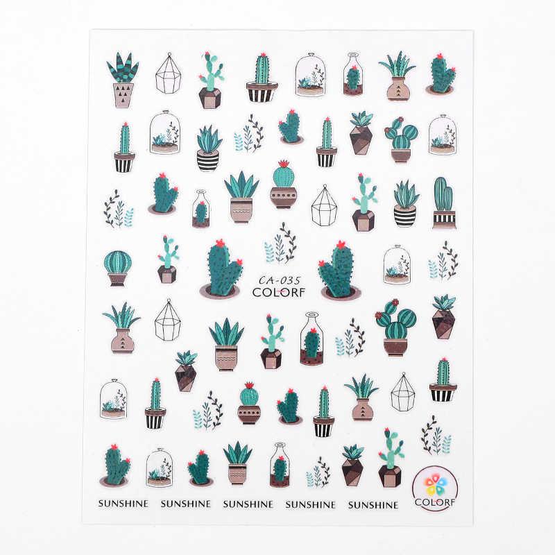 1 foglio di Cactus Adesivi Per Unghie 3D Nail Art Verde Pungente cactus Disegni Del Tatuaggio Polacco Cactus Cooler Cactus Nail Art Sticker avvolge