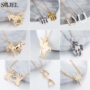 SMJEL Animal Horse Pendant Necklace Women Men Jewelry Cute Horse Shoe Hoof Necklaces Choker Collier Wholesale(China)