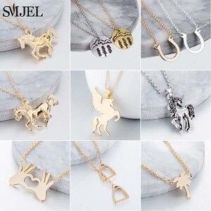 SMJEL Animal Horse Pendant Necklace Wome