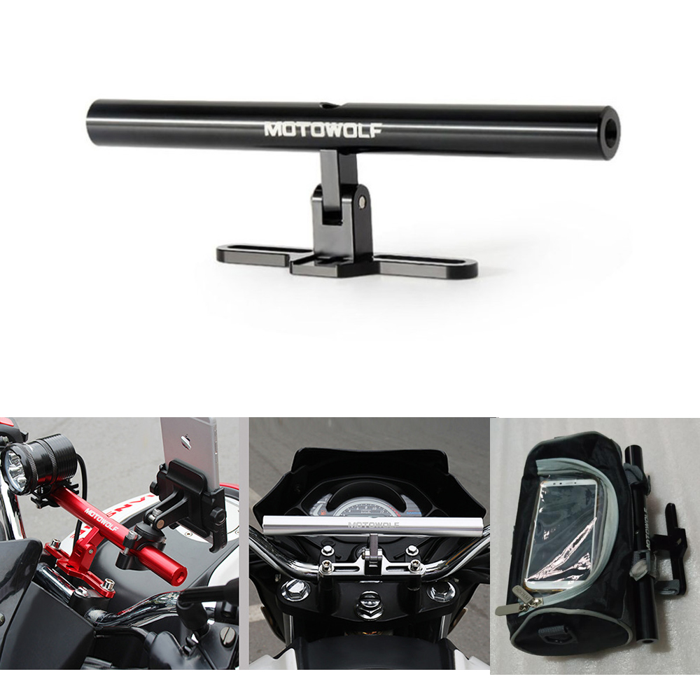Metal Motorcycle Bike Extension Crossbar Bracket Extender Lengthen Mount Lightweight Flashlight Motorcycle GPS Phone Holder
