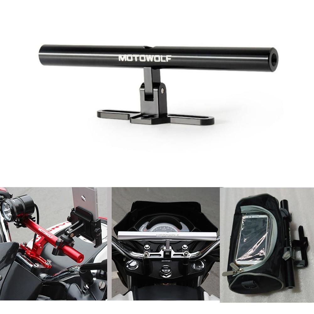Metal Motorcycle Bike Extension Crossbar Bracket Extender Lengthen Mount Lightweight Flashlight Motorcycle GPS Phone Holder