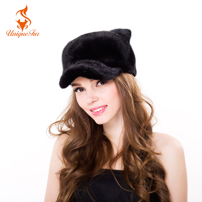 Fashion Winter Women Real Mink Fur Hats Cap Women Warm Black With Cat Ears Ladies Cute Baseball Caps Warm Party Women Casual Cap new hot selling women s wigs hand woven mink fur with real women warm winter fashion hats high quality multicolor 2336