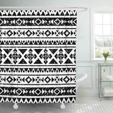 Fabric Shower Curtain Geometric Abstract with Tribal Aztec Boho Chic Style Pattern for American Border Ethnic Bathroom Curtains(China)