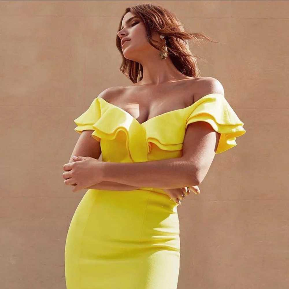 fd1a9e617e1 2018 Elegant Solid Sexy Brief Summer Dress Yellow White Black Short Sleeve Off  Shoulder Ruffles Split
