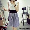 Snowlake nueva marca de moda de verano princesa imperio de slim cintura de volantes sin mangas de dress s-xl ps210290