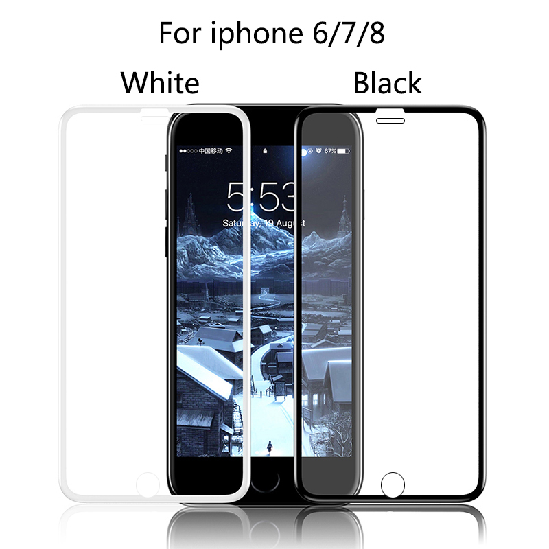 7D Full Cover protective Glass For iPhone 6 7 8 6S Plus X