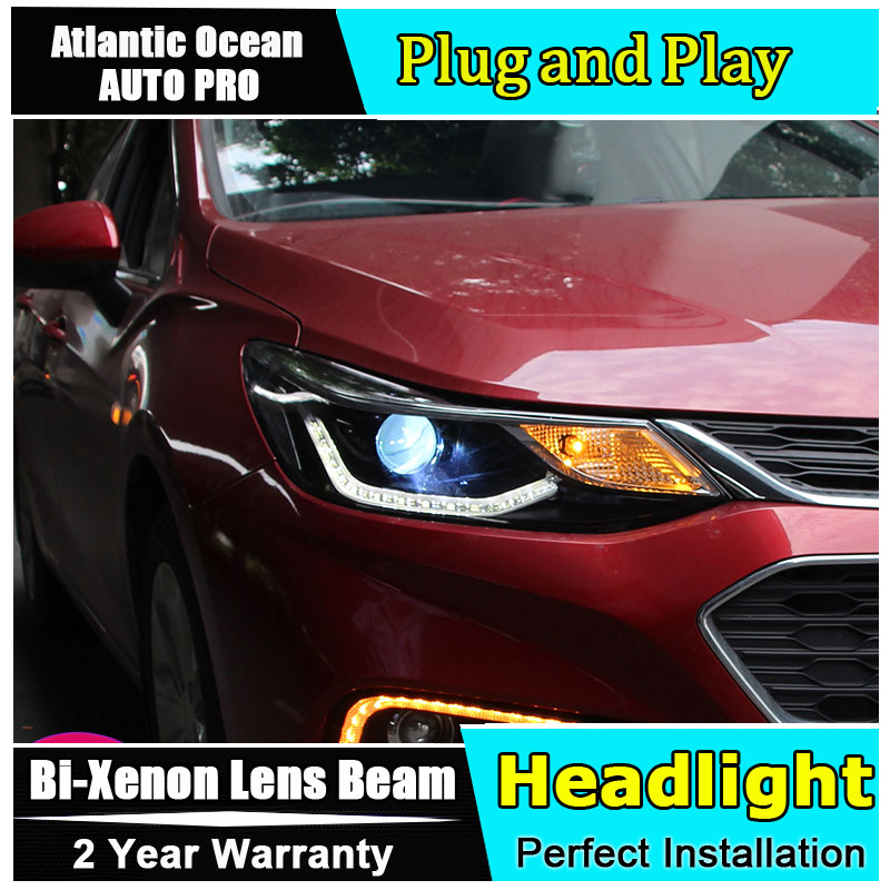 car styling For Chevrolet Cruze headlights 2017 2018 For Cruze head lamps bi xenon lens h7