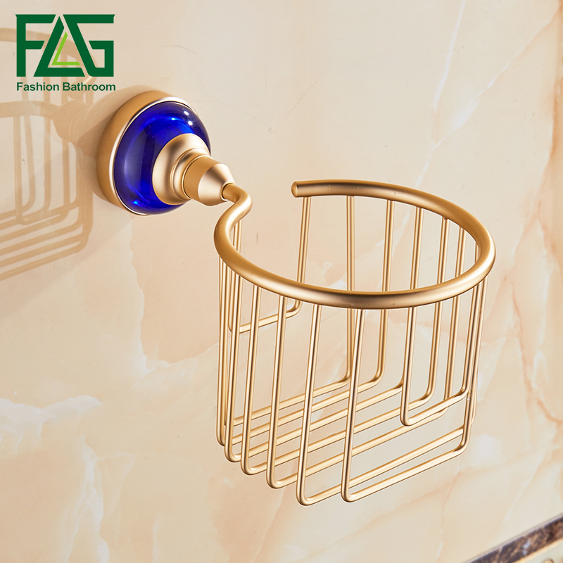 Flg paper holders gold bathroom basket blue crystal for Blue and gold bathroom accessories