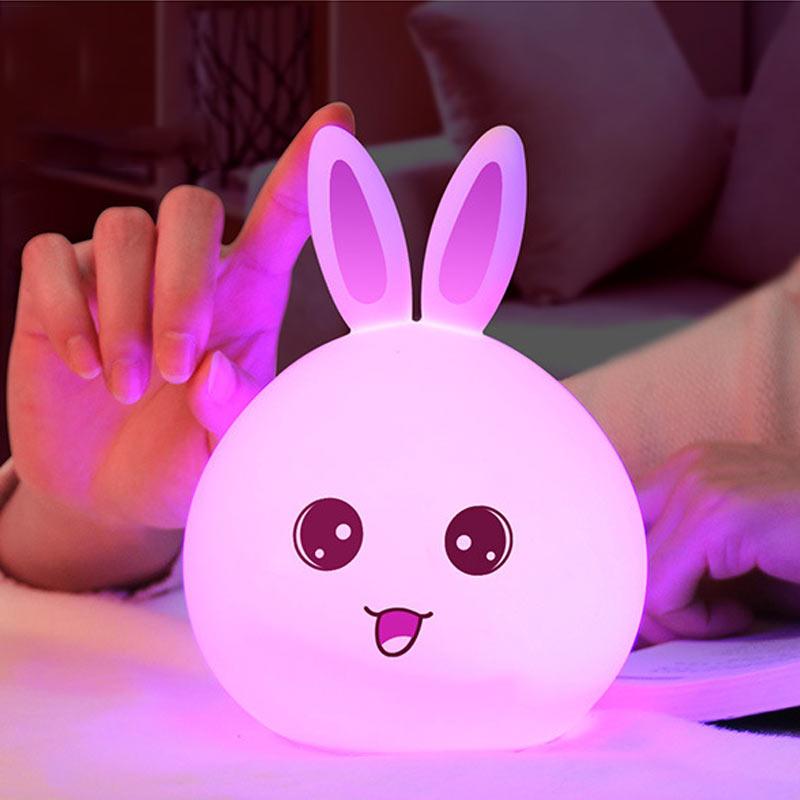 Luzes da Noite lâmpada multicolor usb recarregável sensor Formato : Animal