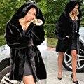 2016 Негабаритных Зимы Женщин С Капюшоном Искусственный Мех Пальто Плюс Размер винтаж Искусственный Черный Искусственного Фокс Шуба С Капюшоном Плюс размер