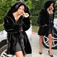 2016 Oversize Women Winter Hooded Fake Fur Coats Plus Size Vintage Artificial Black Faux Fox Fur Coat With Hood Plus Size