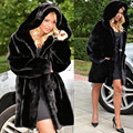 2016 de Gran Tamaño Las Mujeres de Invierno Con Capucha De Piel Falsa Abrigos Tallas grandes Artificial de la vendimia Negro Faux Fox Fur Coat Con Capucha Plus tamaño
