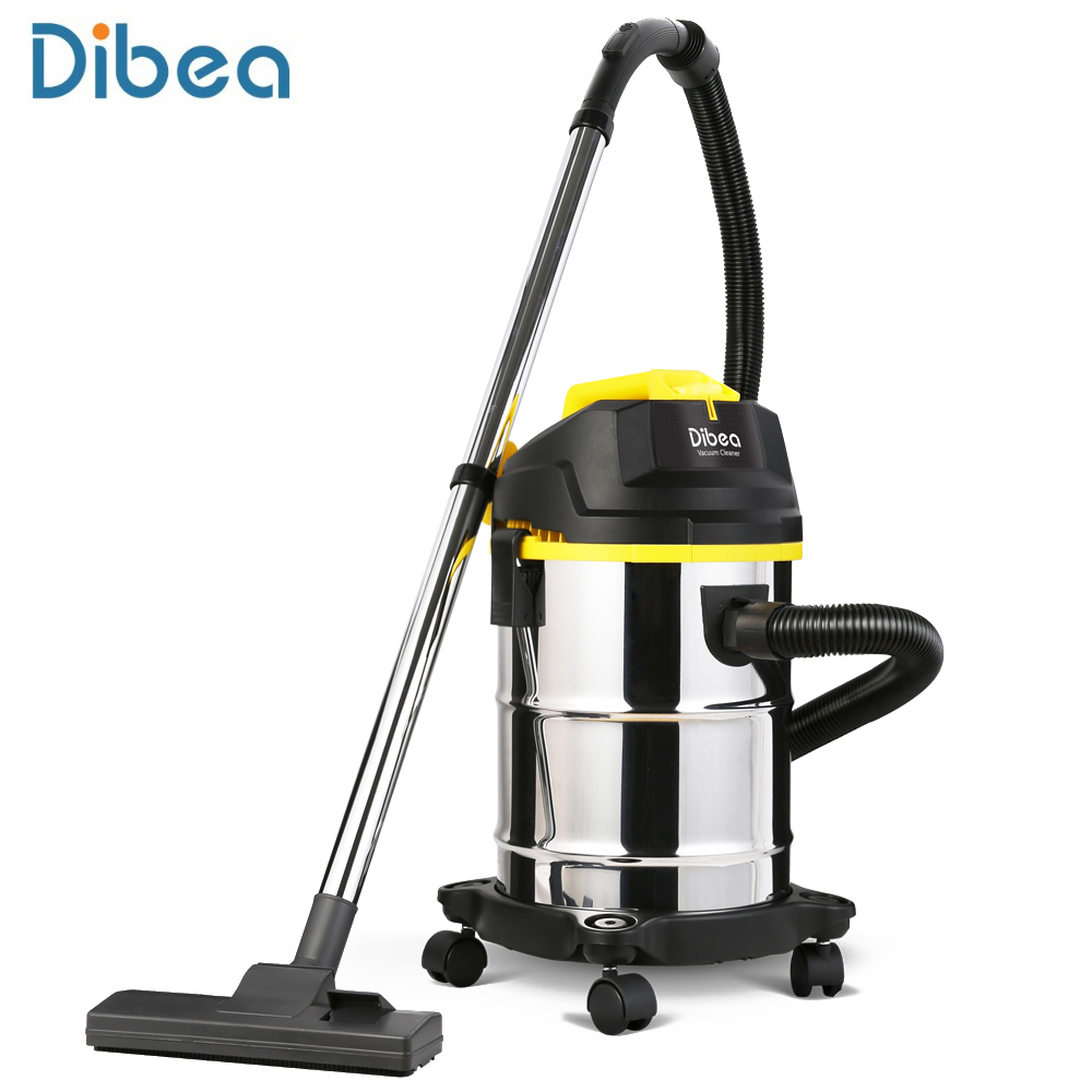 Dibea DU100 Barrel Type Vacuum Cleaner 15L Capacity Wet / Dry Dust Collector Household Cleaning Appliances With Suction Brush jiqi vacuum cleaner household handheld wet and dry blow large power ultra strong silent barrel type 15l large capacity