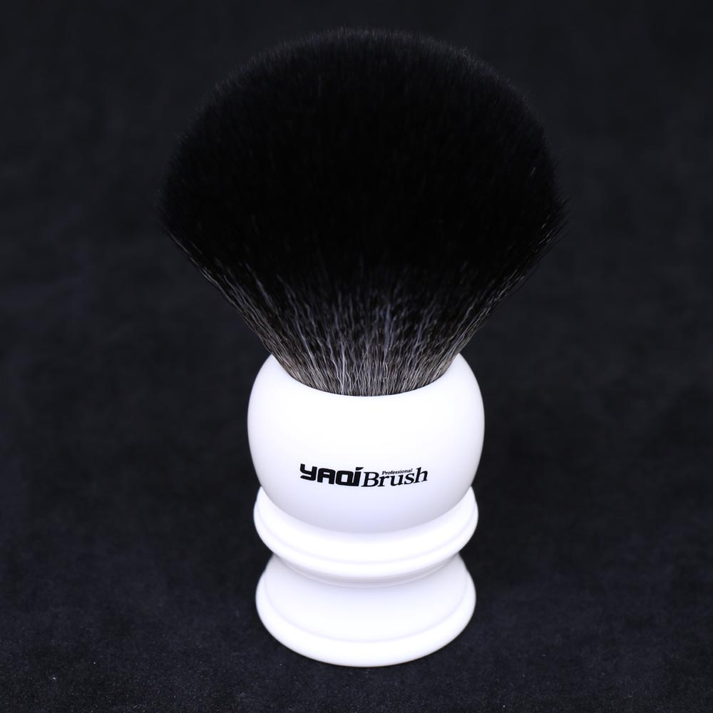30mm Size Knot White Handle Black Synthetic Hair Shave Brush