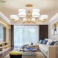Современные Блестящие золотые металлические светодиодные люстра  освещение для гостиной  акриловая светодиодная подвесная люстра  светод...