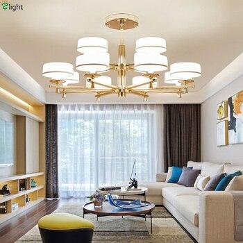 Modern Parlaklık Altın Metal Led Avizeler Aydınlatma Oturma Odası Akrilik Led kolye Avize Işıkları Asılı yatak odası için lamba