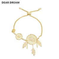 925 Sterling Silver Dreamer Bracelet Yellow Golden For Gril Women Gifts Fashion Jewelry
