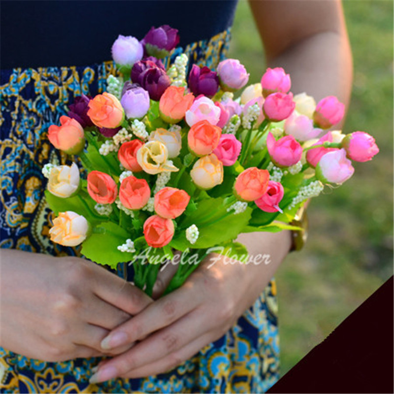 Autumn 15 Heads Silk Roses Bract Artificial Flower For Wedding And Christmas Decor 4