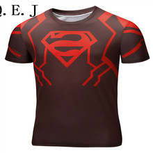 Q.E.J Marvel Super Heroes Avenger Captain America Batman T shirt Men Compression Armour Base Layer Thermal Under Causal Shirt