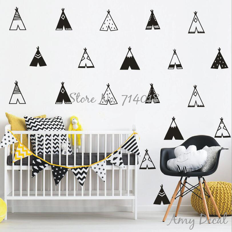 Teepee wall decals vinyl tribal tents wall stickers kids for Vinilos pared aliexpress