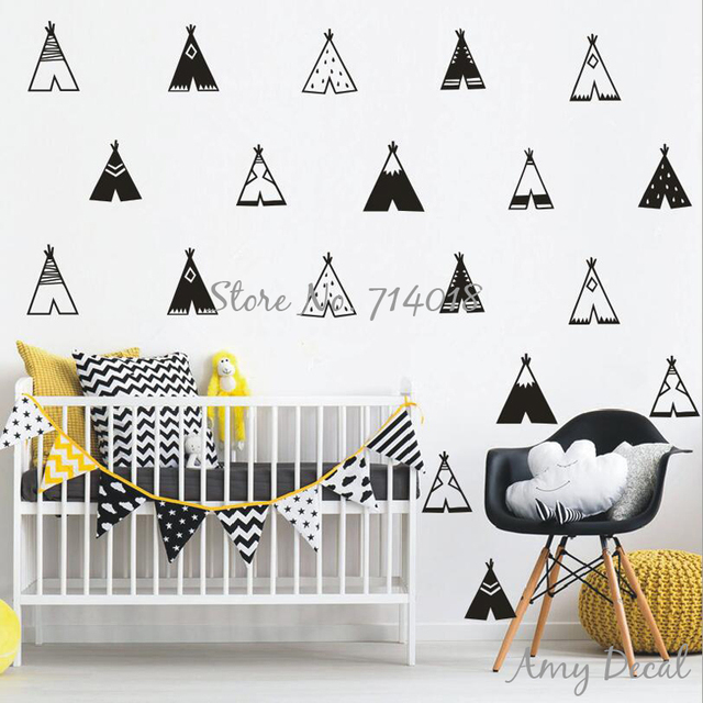 Teepee Wall Decals Vinyl Tribal Tents Wall Stickers Kids Room Bedroom Vinyl  Decor Nordic Modern Nursery