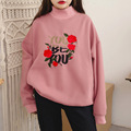 Осень и зима новых женщин свободные длинными рукавами милые письма роуз вышивки высокий воротник досуг толстовка