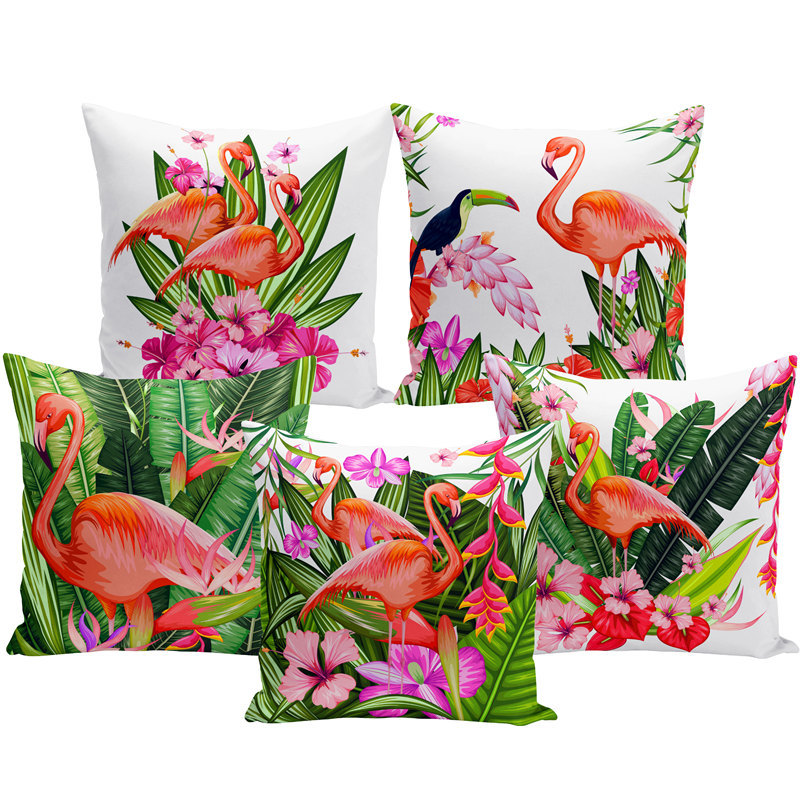 Watercolor Printed Cushion Cover Flamingo Bird Tropical Plants Flower Decorative Pillowcase Living Room Sofa Home