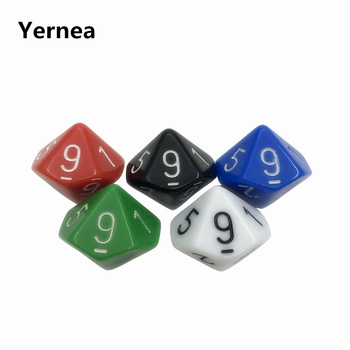 5Pcs/Lot Multicolor D10 Originality Dice Acrylic Rounded Corner Multi-faceted Dice Set Game Dice Yernea acrylic 10 side game dice green 5 pcs