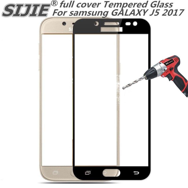 Cobertura completa 2017 Tela de proteção de Vidro Temperado Para samsung galaxy J5 5.2 polegada eua EDITION Smartphone temperado