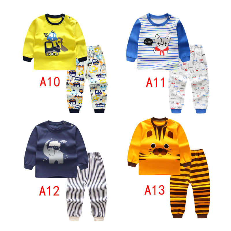 2pcs Long Sleeve sleepwear Baby boys Clothing Cartoon  Printed Clothing suits