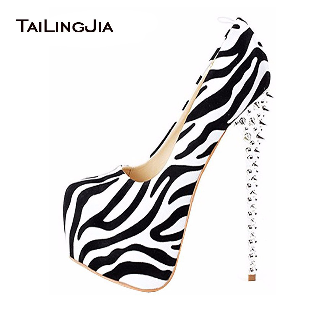 2017 Kvinne Sexy Leopard Zebra High Heels Spikes Platform Slip On Round Toe Pumps Ekstremt Høy Heeled Cute Pole Dancing Shoes