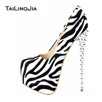 2017 Woman Sexy Leopard Zebra High Heels Spikes Platform Slip on Round toe Pumps Extremely High Heeled Cute Pole Dancing Shoes