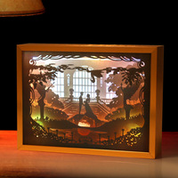 3D Paper Carving Light Wedding Night Lights Alloy Frame LED Night Lamp USB Table Light For Valentine's Day Decor Lamp Gift