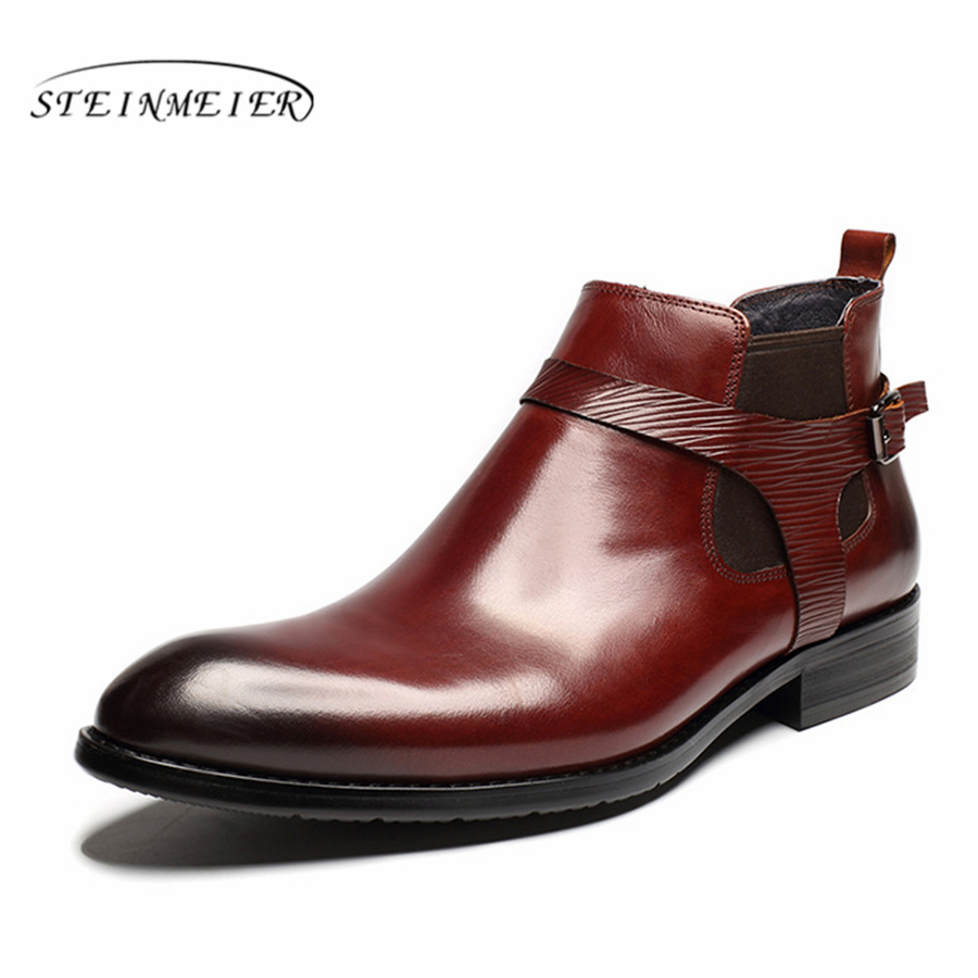 Men winter Boots Genuine cow leather chelsea boots brogue shoes casual ankle shoes Comfortable quality soft handmade spring maylosa summer spring women boots with hole genuine leather feminina casual boots good quality handmade casual lady shoes