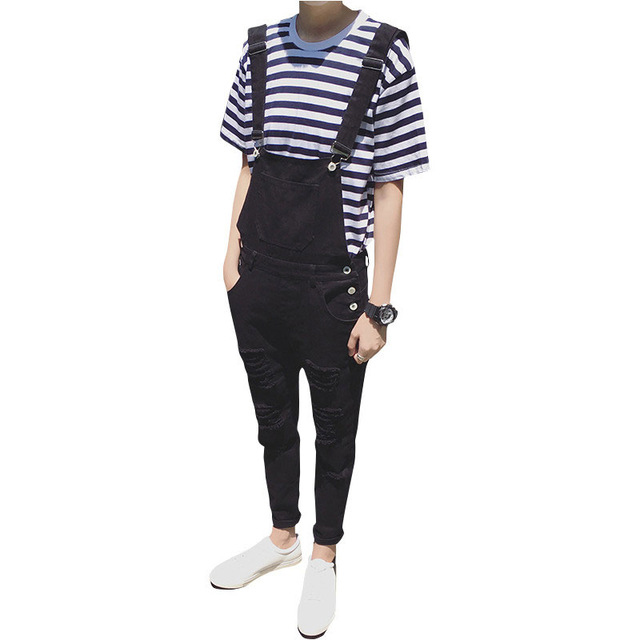 ebe163cbf Mens Fashion Black White Jumpsuit For Men Casual Suspender Pants Straight  Casual Long Mens Overalls Spring Autumn Clothing