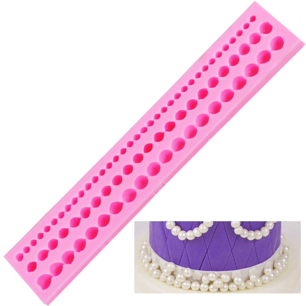 M037 Pearl String Beads Silicone Mold Fondant Cake ...