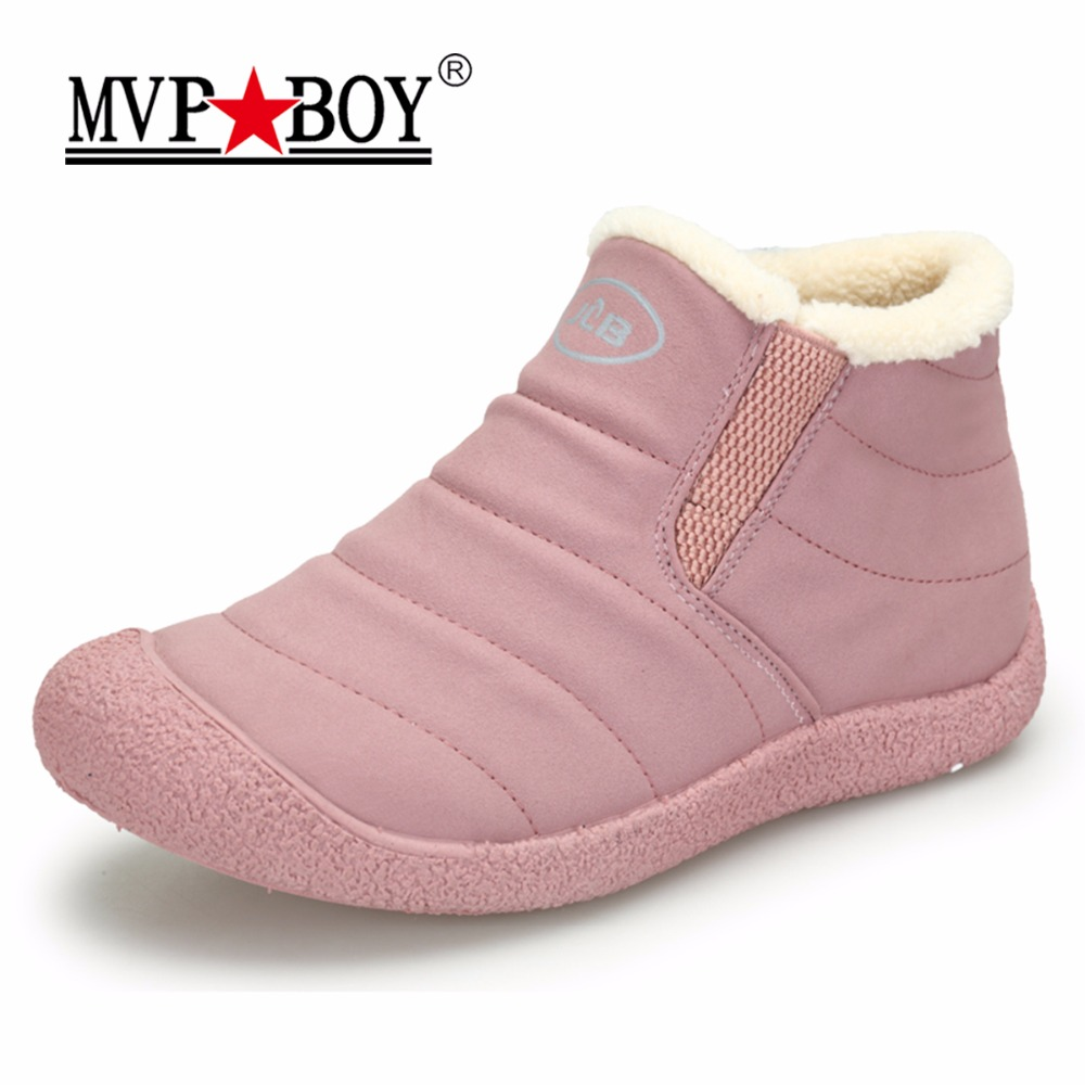 MVP BOY Winter Snow Boots Fur Ankle Rain Boots for Women